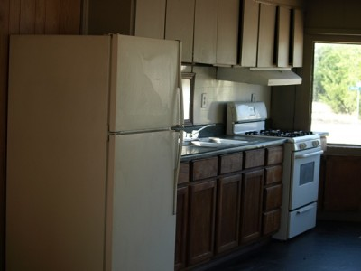 cabinets on both sides of kitchen